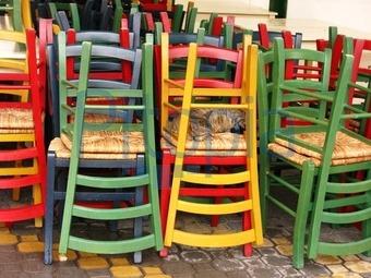 Bunte Holzstühle bildagentur pitopia bilddetails bunte stühle und eine katze