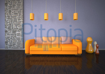 Raumdesign Steinwand Orange Couch (Style Photography.de)   Lizenzfrei  (royalty Free